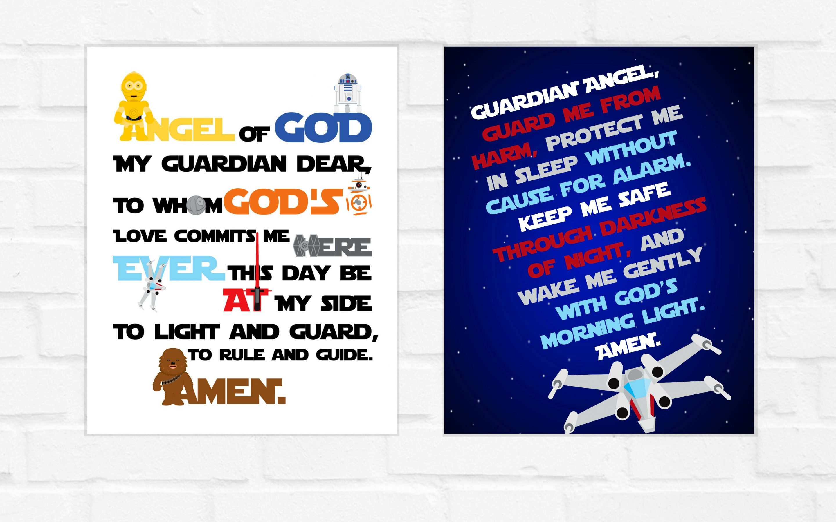 Guardian Angel Prayer Star Wars Version 8×10 and SQUARE {digital download} Day and Night
