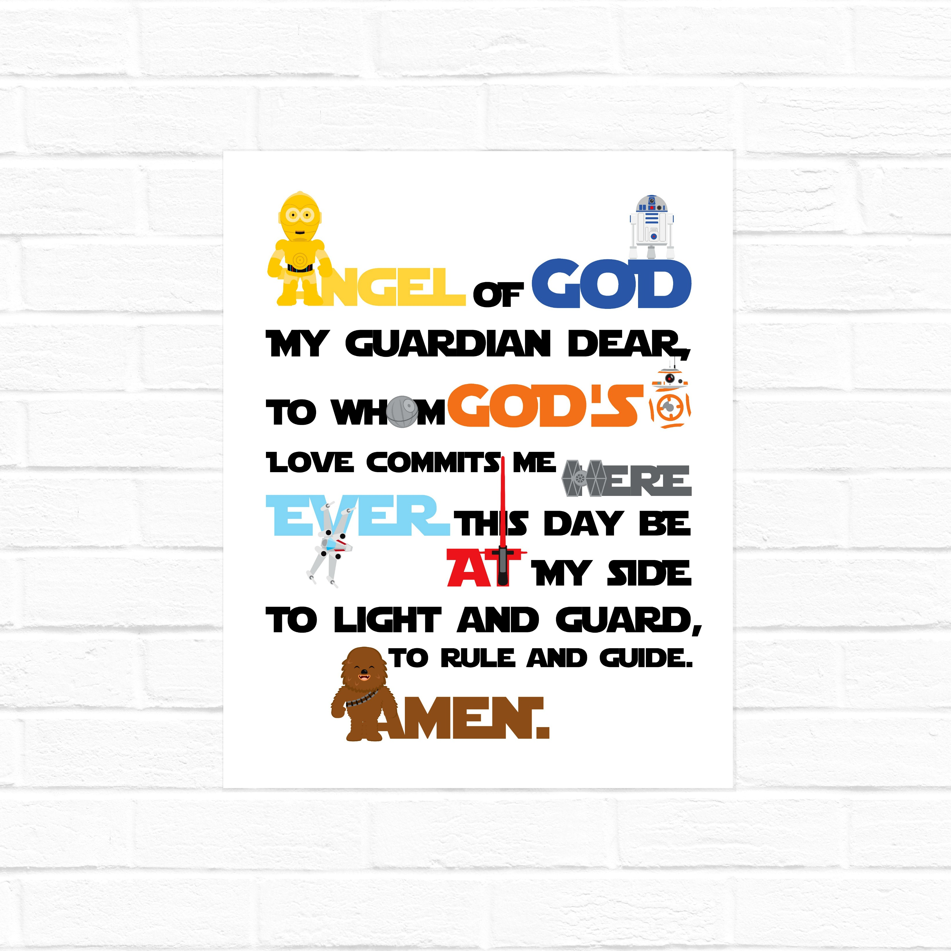 graphic about Guardian Angel Prayer Printable known as Dad or mum Angel Prayer Star Wars Edition 8x10 and Sq. electronic obtain Working day and Night time