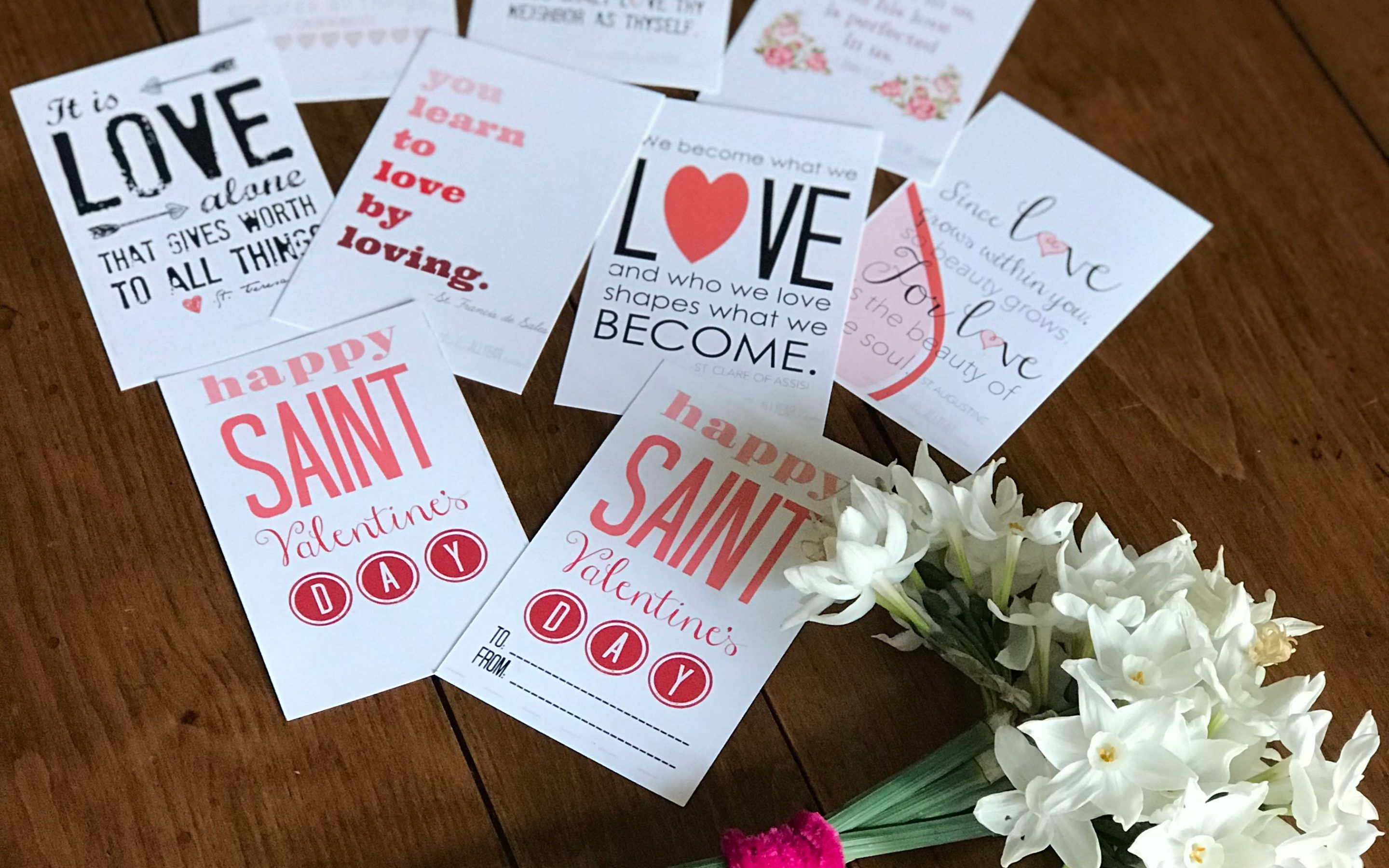 Catholic Valentine Cards {digital download} Saint and Bible Quotes 8.5×11 pages to print and cut at home