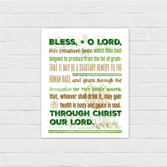 Blessing for Beer in green 8×10 and square {digital download}
