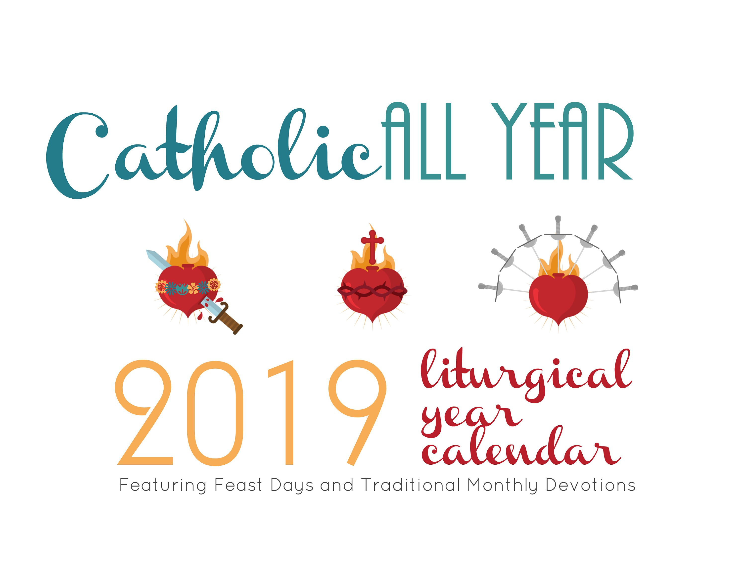 image relating to Liturgical Year Calendar Printable titled Catholic All Yr 2019 Liturgical Yr Calendar *electronic down load*