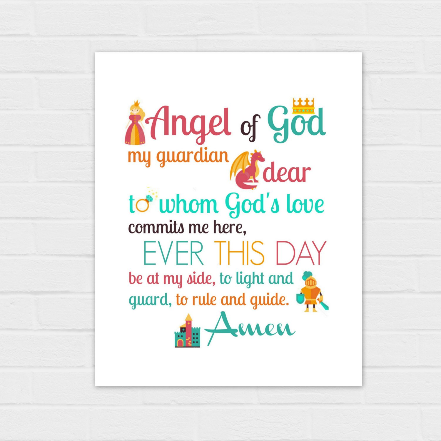 image relating to Guardian Angel Prayer Printable named Mother or father Angel Prayer: Fairy Story Edition electronic obtain 2 prayers, 2 measurements, 2 colour designs 8x10 and Sq.