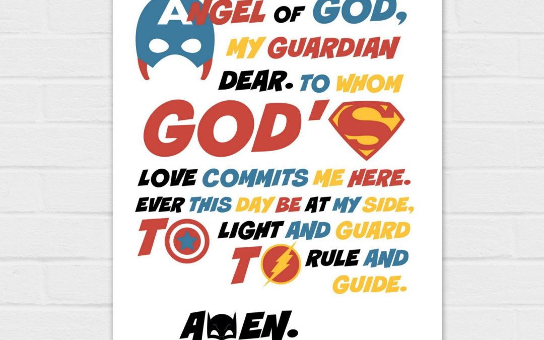 Guardian Angel Prayer: Superhero Version {digital download} TWO prayers in two sizes, day and night, 8×10 and SQUARE