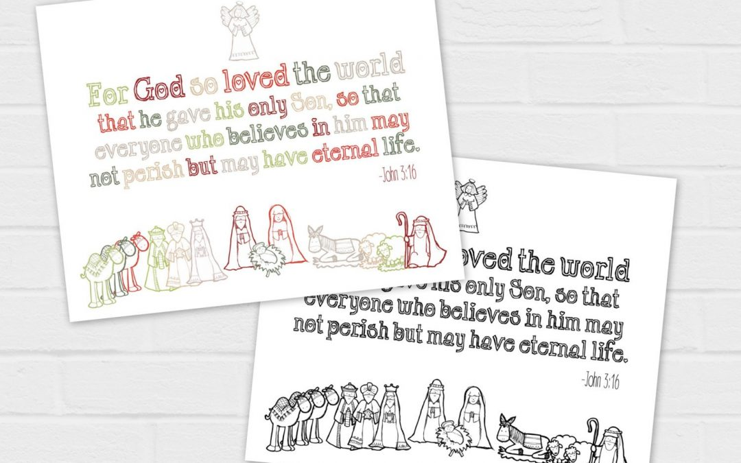 For God So Loved the World {digital download} John 3:16 Christmas Nativity printable and coloring page