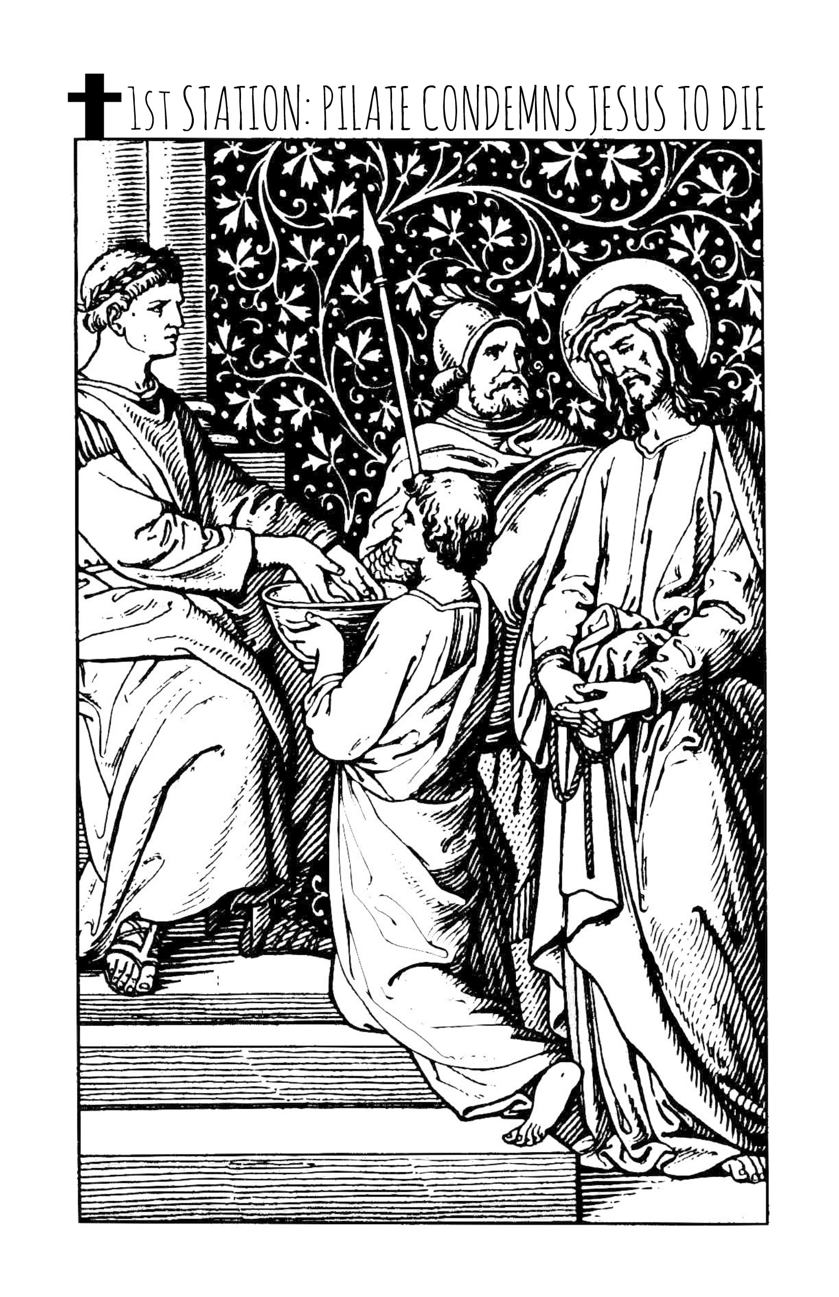 stations of the cross printable coloring book coloring pages for adults and kids digital download