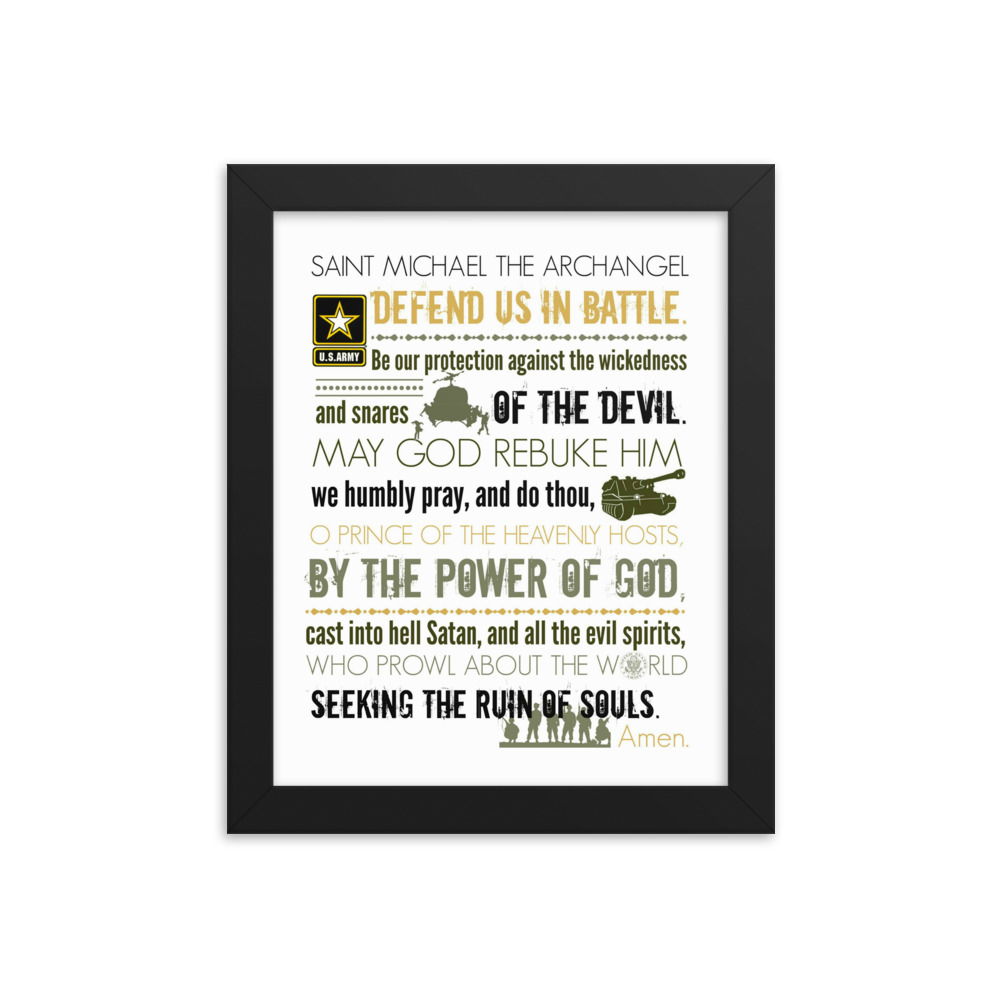 Prayer of St. Michael – Army – Framed Poster (in)