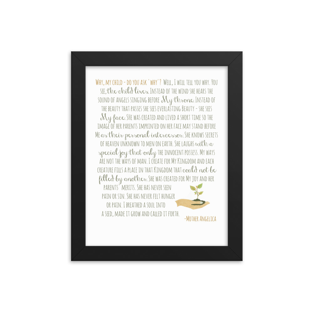Miscarriage/Infant Loss Prayer by Mother Angelica – She/Her Version Framed Poster