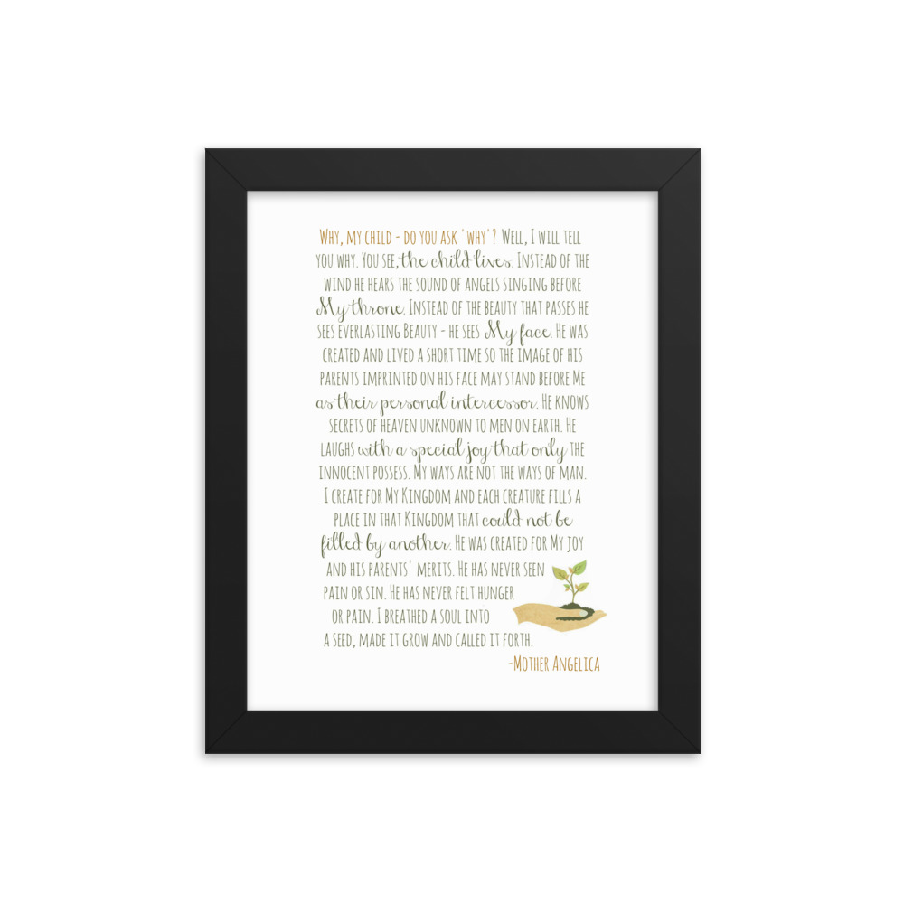 Miscarriage/Infant Loss Prayer by Mother Angelica – Original Version Framed Poster
