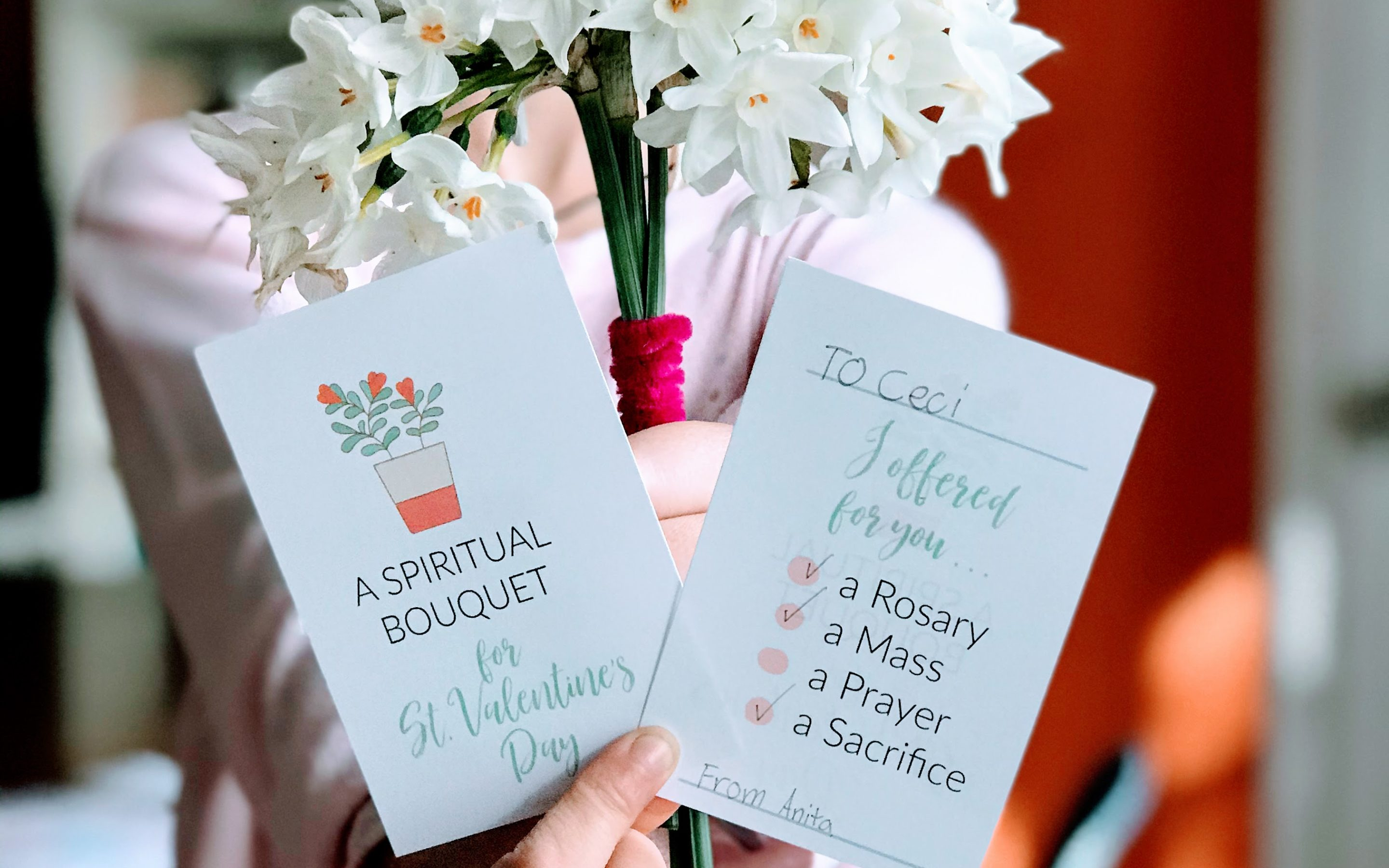 Catholic Valentine Cards {digital download} Spiritual Bouquet 8.5×11 pages to print and cut at home