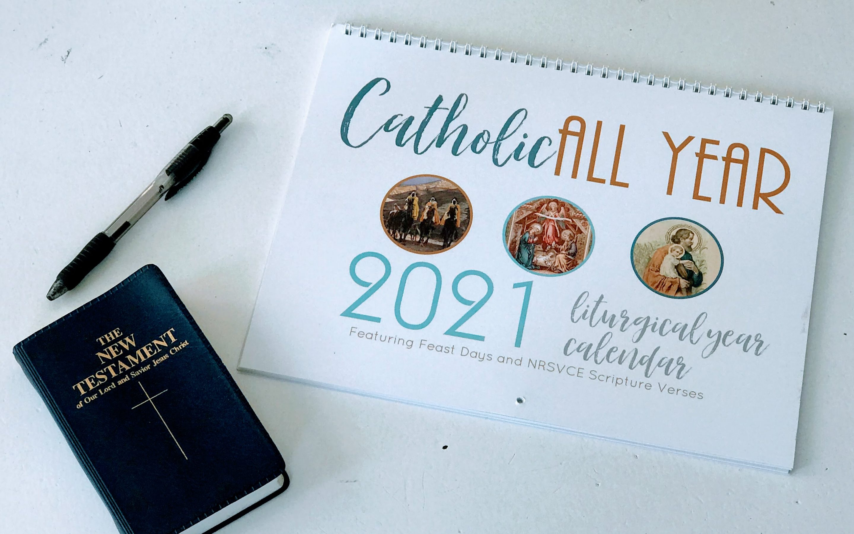 Catholic All Year 2021 Liturgical Calendar with NRSVCE Scripture Quotes *digital download*