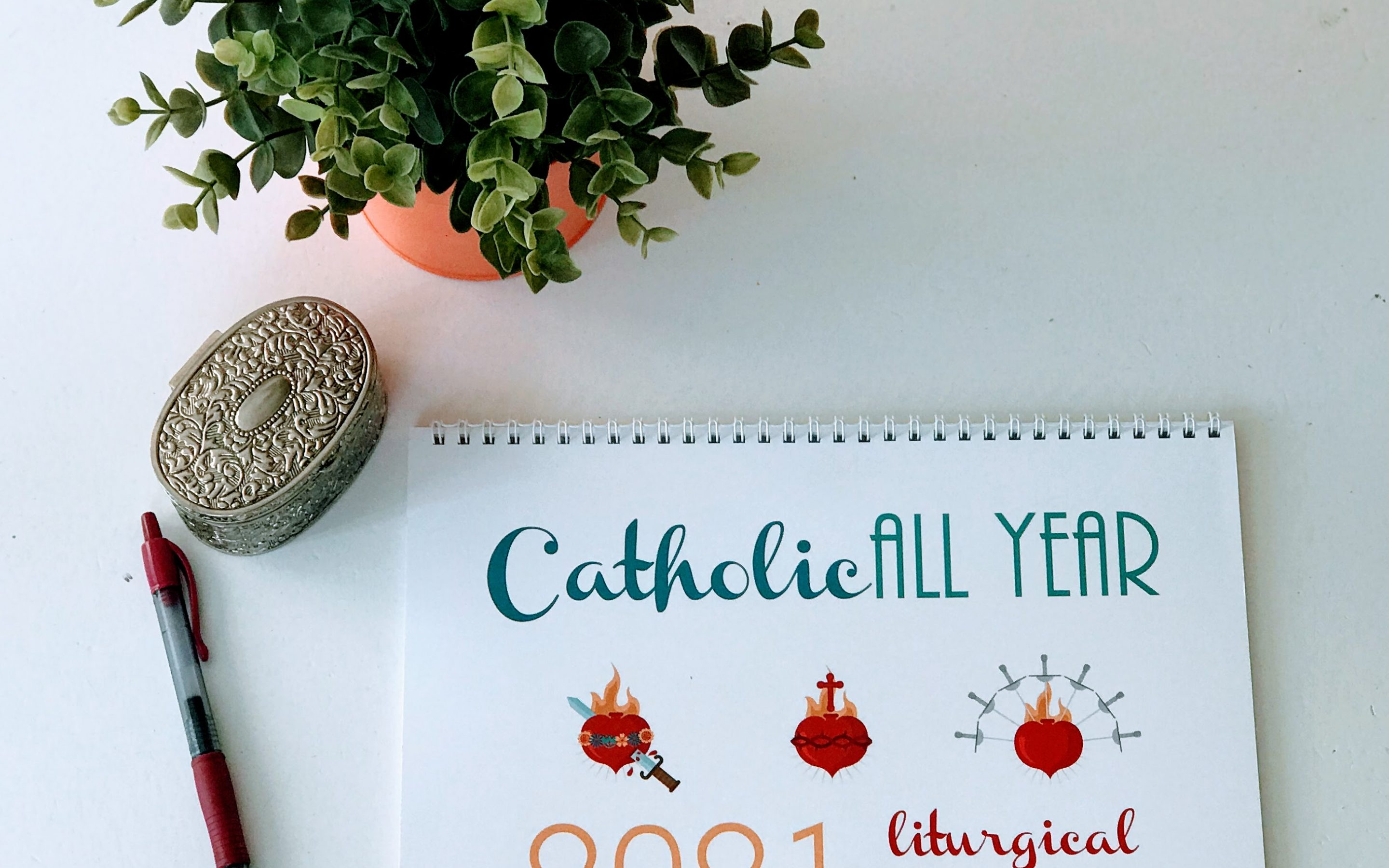 Catholic All Year 2021 Liturgical Calendar with Monthly Devotion Art *digital download*