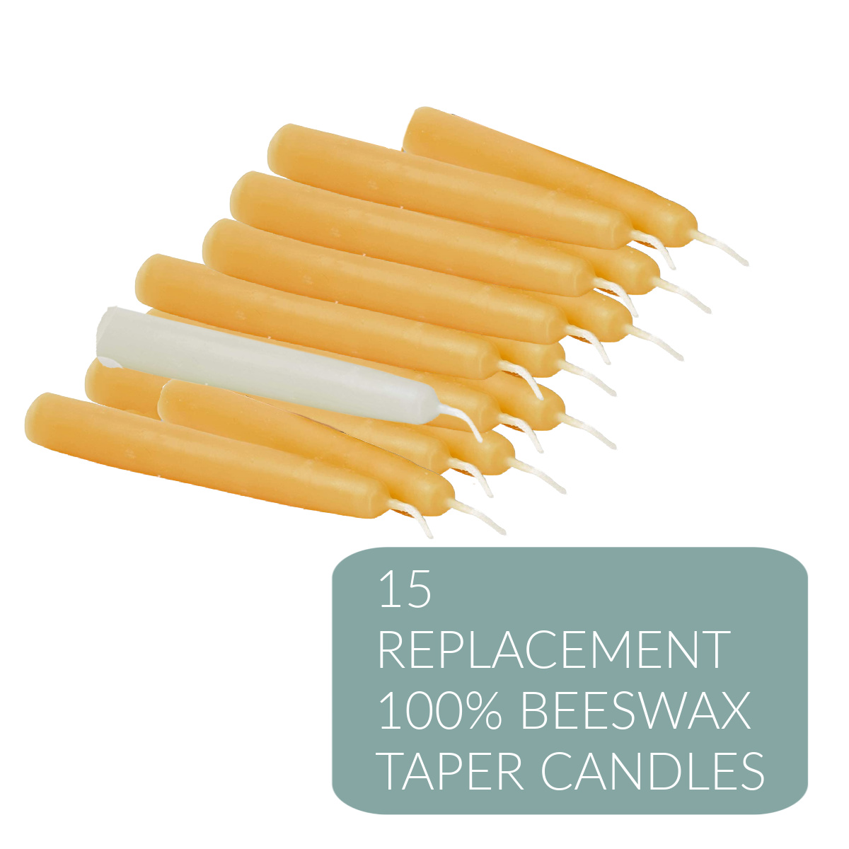 Set of 15 100% Beeswax Small Taper Candles for use with the Tenebrae Hearse Candelabra