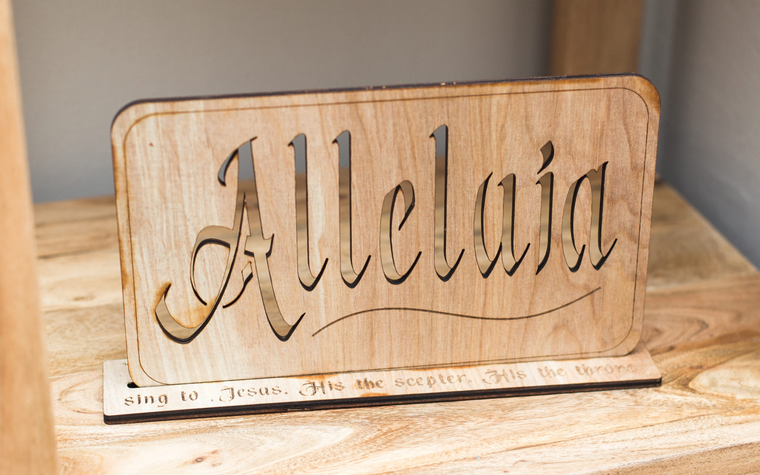 Wooden Alleluia with Stand: to Bury for Lent and Decorate for Easter