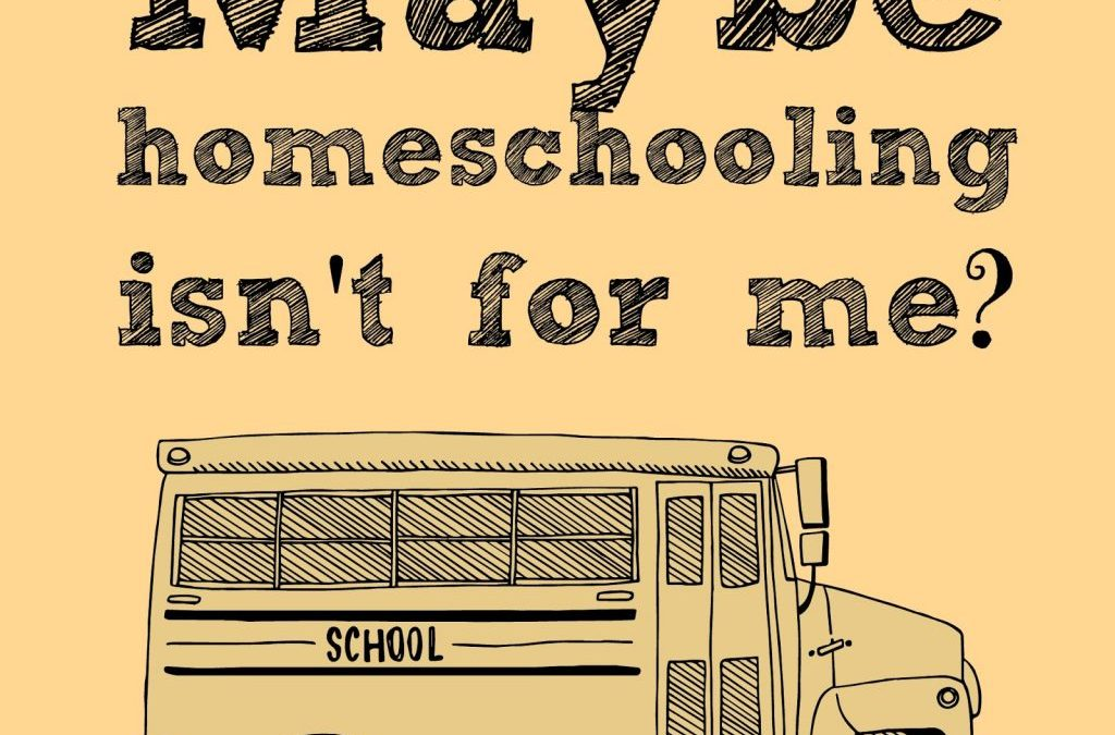 Maybe Homeschooling Isn't For Me?